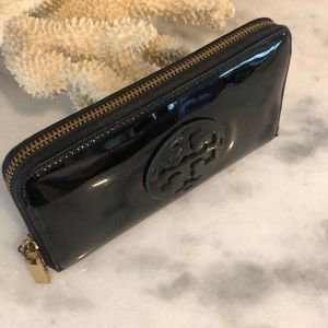 Tory Burch Bags - Large black patent TORY BURCH ZIP WALLET clutch